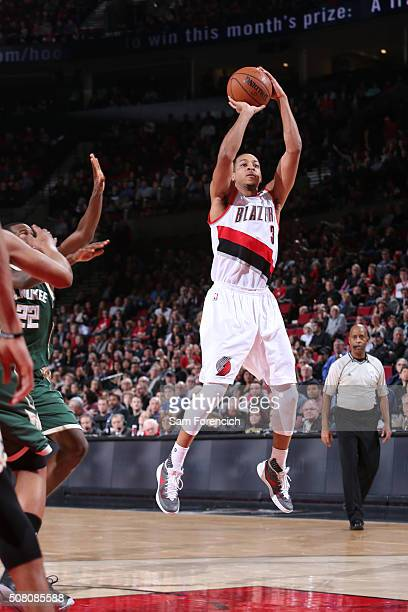J McCollum of the Portland Trail Blazers shoots against the Milwaukee Bucks during the game on February 2 2016 at Moda Center in PortlandOregon NOTE...