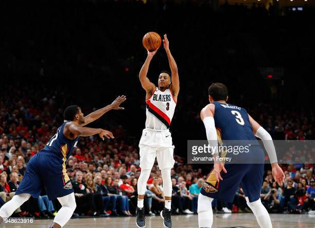 J McCollum of the Portland Trail Blazers shoots against the New Orleans Pelicans during Game One of the Western Conference Quarterfinals during the...