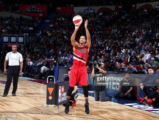 McCollum of the Portland Trail Blazers shoots during the JBL ThreePoint Contest during State Farm AllStar Saturday Night as part of the 2017 NBA...