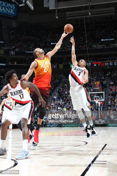 McCollum of the Portland Trail Blazers shoots the ball against Rudy Gobert of the Utah Jazz on February 23 2018 at vivintSmartHome Arena in Salt Lake...