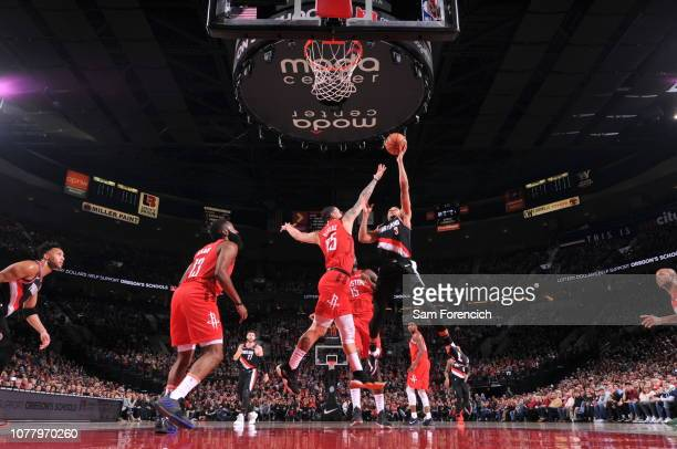 McCollum of the Portland Trail Blazers shoots the ball against the Houston Rockets on January 5 2019 at the Moda Center Arena in Portland Oregon NOTE...