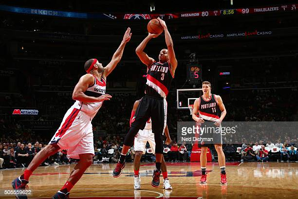 J McCollum of the Portland Trail Blazers shoots the ball against the Washington Wizardson January 18 2016 at Verizon Center in Washington DC NOTE TO...