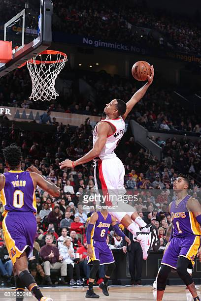 J McCollum of the Portland Trail Blazers shoots the ball against the Los Angeles Lakers during the game on January 5 2017 at the Moda Center in...