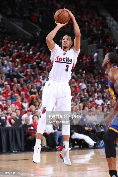 J McCollum of the Portland Trail Blazers shoots the ball against the Golden State Warriors of the Portland Trail Blazers shoots the ball against the...
