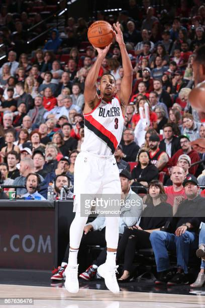 McCollum of the Portland Trail Blazers shoots the ball against the Phoenix Suns on October 28 2017 at the Moda Center in Portland Oregon NOTE TO USER...