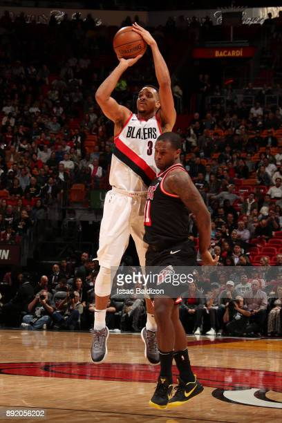 McCollum of the Portland Trail Blazers shoots the ball against the Miami Heat on December 13 2017 at American Airlines Arena in Miami Florida NOTE TO...