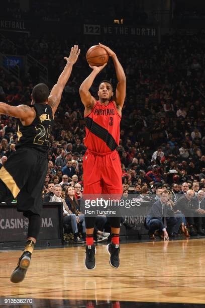 McCollum of the Portland Trail Blazers shoots the ball against the Toronto Raptors on February 2 2018 at the Air Canada Centre in Toronto Ontario...