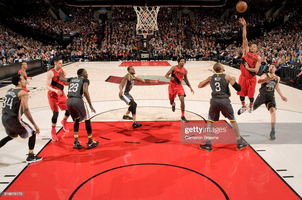CJ McCollum #3 of the Portland Trail Blazers shoots the ball against the Golden State Warriors on February 14, 2018 at the Moda Center Arena in Portland, Oregon.