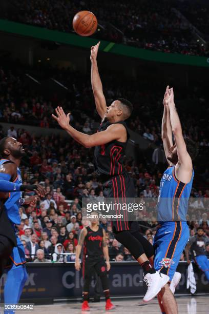 McCollum of the Portland Trail Blazers shoots the ball against the Oklahoma City Thunder on March 3 2018 at the Moda Center in Portland Oregon NOTE...