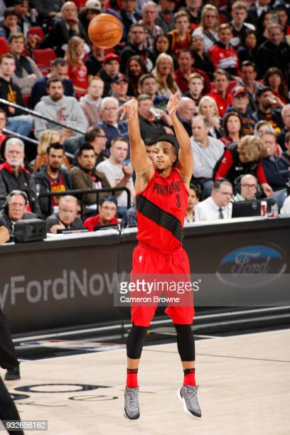McCollum of the Portland Trail Blazers shoots the ball against the Cleveland Cavaliers on March 15 2018 at the Moda Center in Portland Oregon NOTE TO...