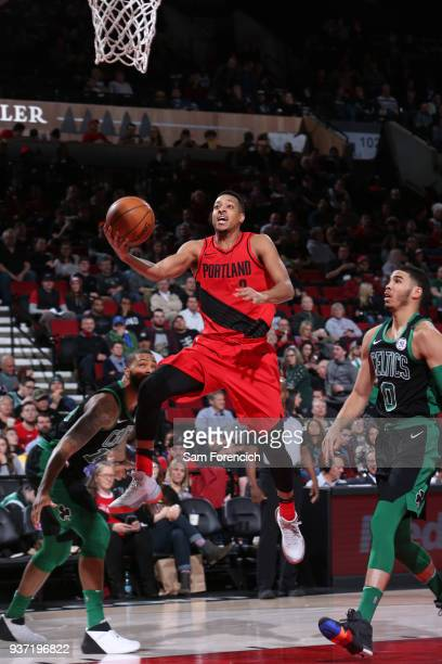 McCollum of the Portland Trail Blazers shoots the ball against the Boston Celtics on March 23 2018 at the Moda Center in Portland Oregon NOTE TO USER...
