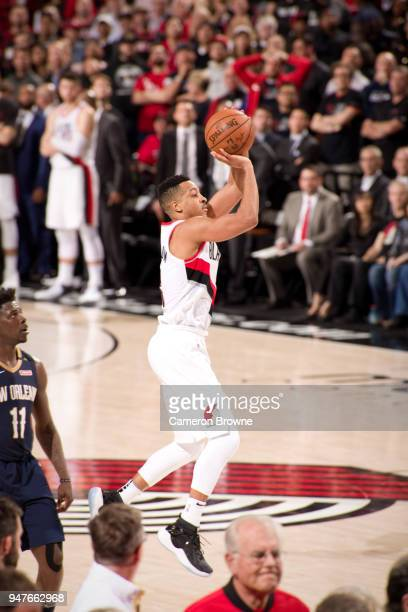 McCollum of the Portland Trail Blazers shoots the ball against the New Orleans Pelicans in Game One of the Western Conference Quarterfinals during...
