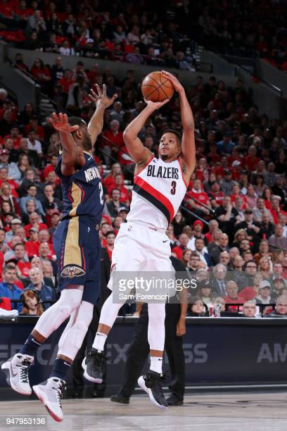 McCollum of the Portland Trail Blazers shoots the ball against the New Orleans Pelicans in Game Two of Round One of the 2018 NBA Playoffs on April 17...