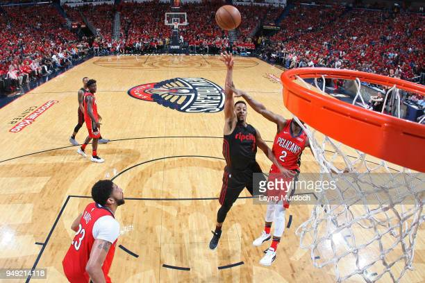 McCollum of the Portland Trail Blazers shoots the ball against the New Orleans Pelicans in Game Three of Round One of the 2018 NBA Playoffs on April...