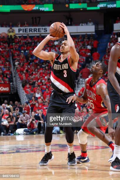 McCollum of the Portland Trail Blazers shoots the ball against the New Orleans Pelicans in Game Four of Round One of the 2018 NBA Playoffs on April...