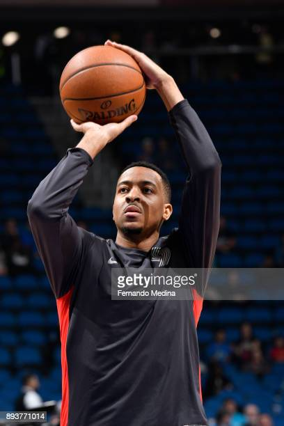 McCollum of the Portland Trail Blazers shoots the ball before game against the Orlando Magic on December 15 2017 at Amway Center in Orlando Florida...