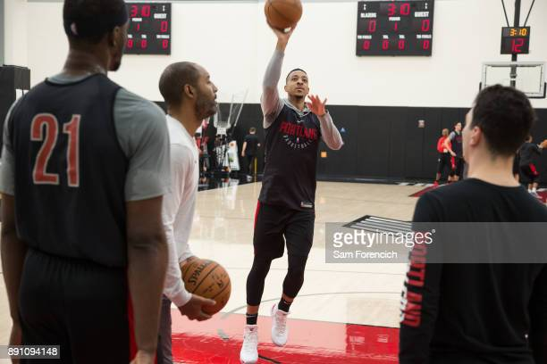 McCollum of the Portland Trail Blazers shoots the ball during an all access practice on December 7 2017 at the Trail Blazer Practice Facility in...