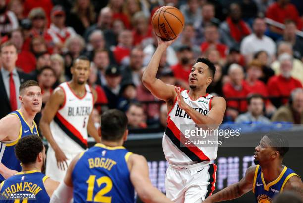 McCollum of the Portland Trail Blazers shoots the ball during the first half against the Golden State Warriors in game four of the NBA Western...