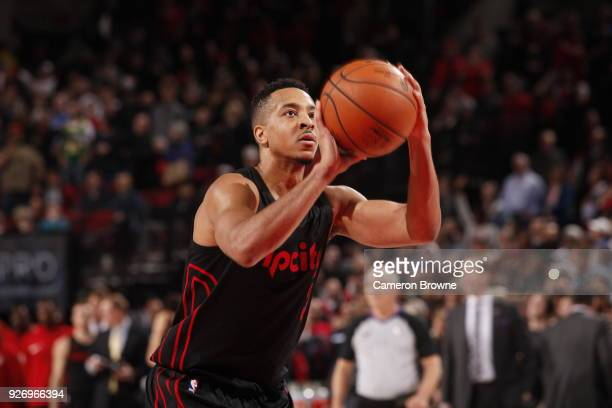 McCollum of the Portland Trail Blazers shoots the ball during the game against the Oklahoma City Thunder on March 3 2018 at the Moda Center in...