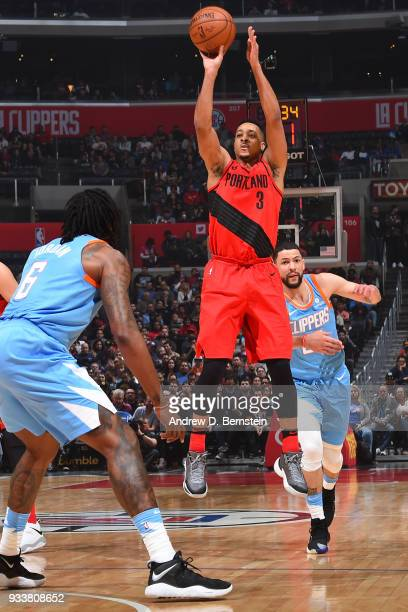 McCollum of the Portland Trail Blazers shoots the ball during the game against the LA Clippers on March 18 2018 at STAPLES Center in Los Angeles...