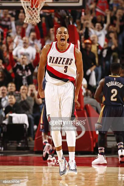 J McCollum of the Portland Trail Blazers shows emotion during the game against the New Orleans Pelicans on October 28 2015 at the Moda Center in...