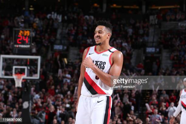 McCollum of the Portland Trail Blazers smiles during a game against the Utah Jazz on February 01, 2020 at the Moda Center Arena in Portland, Oregon....