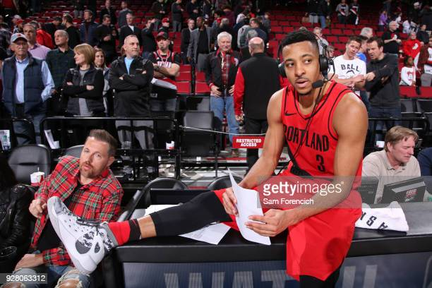 McCollum of the Portland Trail Blazers talks to the media on the court after the game against the Minnesota Timberwolves on March 1 2018 at the Moda...