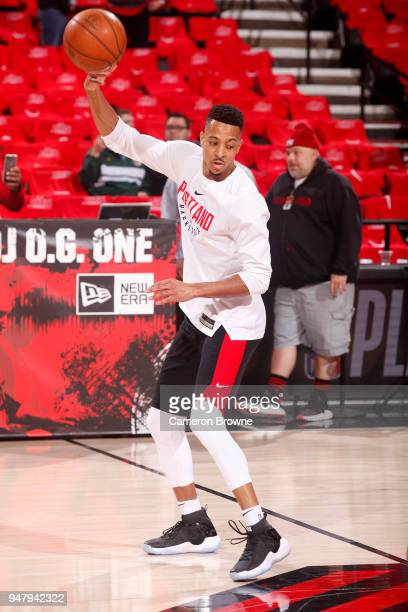 McCollum of the Portland Trail Blazers warms up before the game against the New Orleans Pelicans in Game Two of Round One of the 2018 NBA Playoffs on...