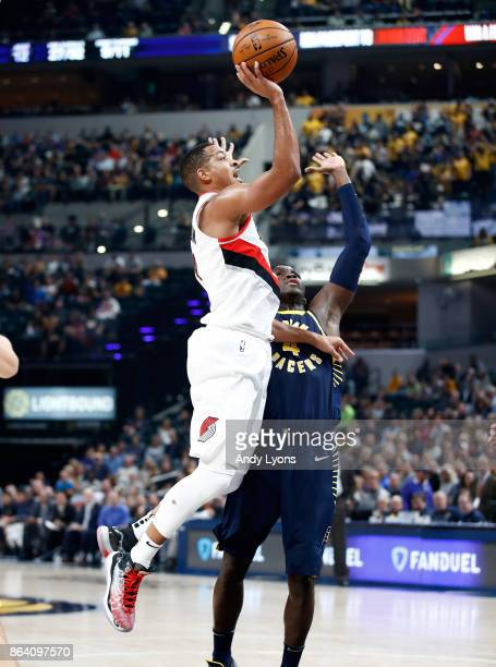 J McCollum of the Portland Trailblazers shoots the ball against the Indiana Pacers at Bankers Life Fieldhouse on October 20 2017 in Indianapolis...