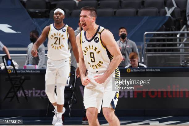 McConnell of the Indiana Pacers celebrates during the game against the Atlanta Hawks on May 6, 2021 at Bankers Life Fieldhouse in Indianapolis,...