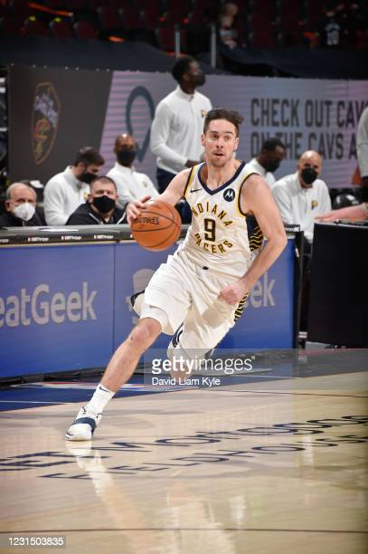 McConnell of the Indiana Pacers dribbles during the game against the Cleveland Cavaliers on March 3, 2021 at Rocket Mortgage FieldHouse in Cleveland,...