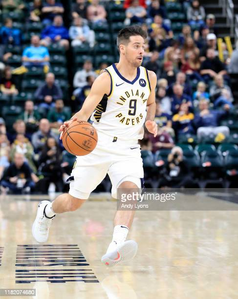 J McConnell of the Indiana Pacers dribbles the ball against the Minnesota Timberwolves at Bankers Life Fieldhouse on October 15 2019 in Indianapolis...