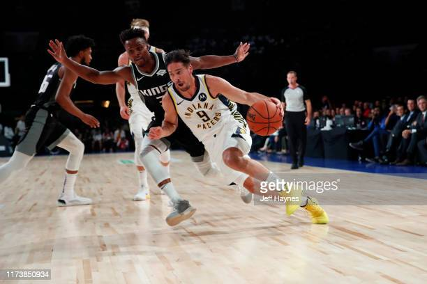 J McConnell of the Indiana Pacers handles the ball against the Sacramento Kings on October 5 2019 at NSCI Dome in Mumbai India NOTE TO USER User...