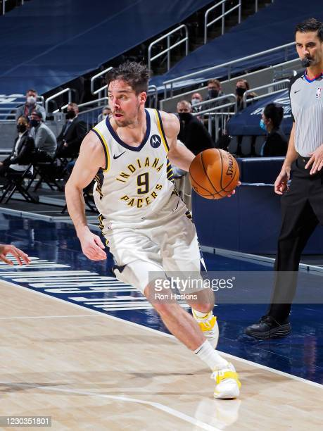 McConnell of the Indiana Pacers handles the ball during the game against the Boston Celtics on December 29, 2020 at Bankers Life Fieldhouse in...