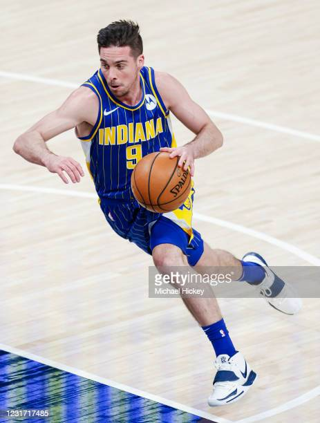 McConnell of the Indiana Pacers is seen during the game against the Denver Nuggets at Bankers Life Fieldhouse on March 4, 2021 in Indianapolis,...