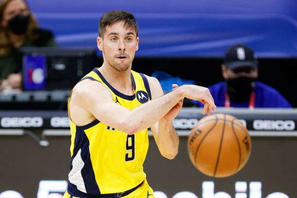McConnell of the Indiana Pacers passes during the second quarter against the Philadelphia 76ers at Wells Fargo Center on March 01, 2021 in...