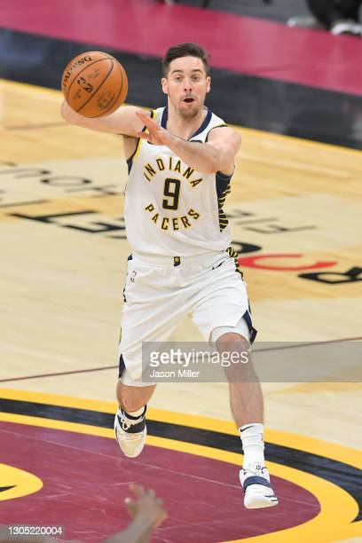 McConnell of the Indiana Pacers passes during the third quarter against the Cleveland Cavaliers at Rocket Mortgage Fieldhouse on March 03, 2021 in...
