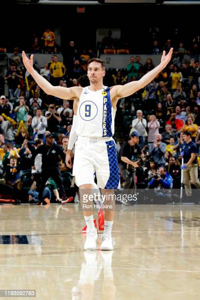 J McConnell of the Indiana Pacers reacts during the game against the Philadelphia 76ers on January 13 2020 at Bankers Life Fieldhouse in Indianapolis...