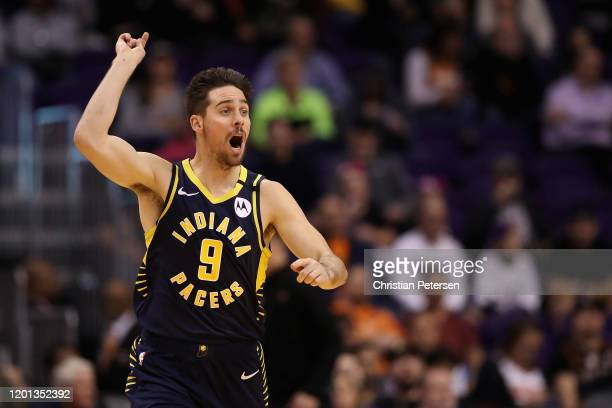 McConnell of the Indiana Pacers reacts during the second half of the NBA game against the Phoenix Suns at Talking Stick Resort Arena on January 22,...