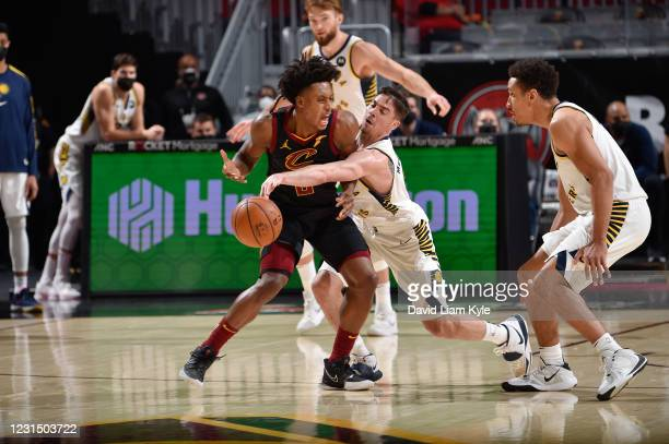 McConnell of the Indiana Pacers steals the ball from Collin Sexton of the Cleveland Cavaliers during the game on March 3, 2021 at Rocket Mortgage...