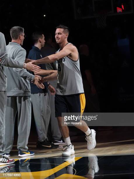 McConnell of the Indiana Pacers walks on to the court during Fan Jam on October 13 2019 in Indianapolis Indiana NOTE TO USER User expressly...