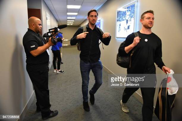 J McConnell of the Philadelphia 76ers arrives before the game against the Miami Heat in Game One of Round One of the 2018 NBA Playoffs on April 14...