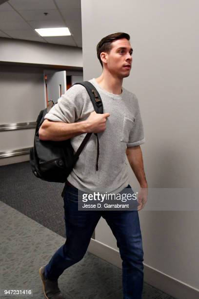 J McConnell of the Philadelphia 76ers arrives to the arena prior to Game Two of Round One of the 2018 NBA Playoffs against the Miami Heat on April 16...