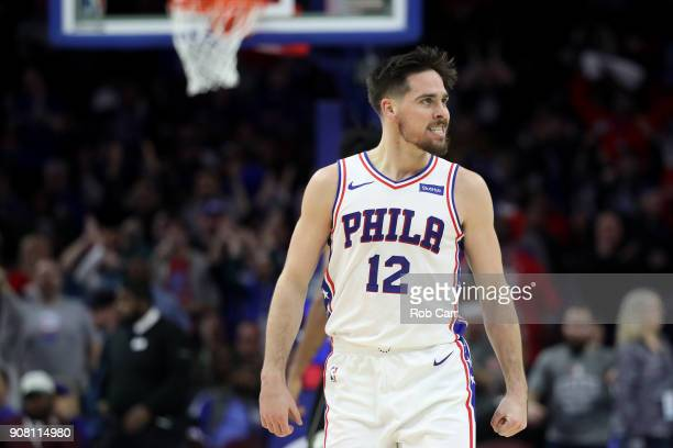 J McConnell of the Philadelphia 76ers celebrates after scoring and getting fouled against the Milwaukee Bucks in the fourth quarter at Wells Fargo...