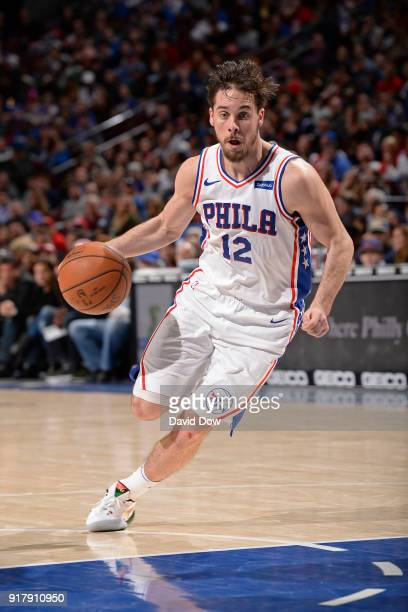 J McConnell of the Philadelphia 76ers drives to the basket against the LA Clippers at Wells Fargo Center on February 10 2018 in Philadelphia...