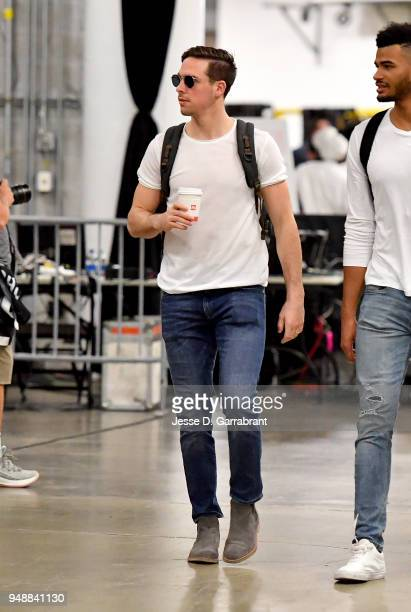 J McConnell of the Philadelphia 76ers enters the arena before the game against the Miami Heat in Game Three of Round One of the 2018 NBA Playoffs on...