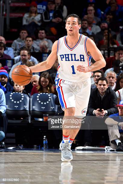 J McConnell of the Philadelphia 76ers handles the ball against the New York Knicks on January 11 2017 in Philadelphia Pennsylvania NOTE TO USER User...