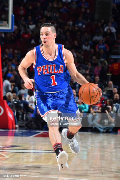 J McConnell of the Philadelphia 76ers handles the ball during the game against the Miami Heat on February 11 2017 at Wells Fargo Center in...