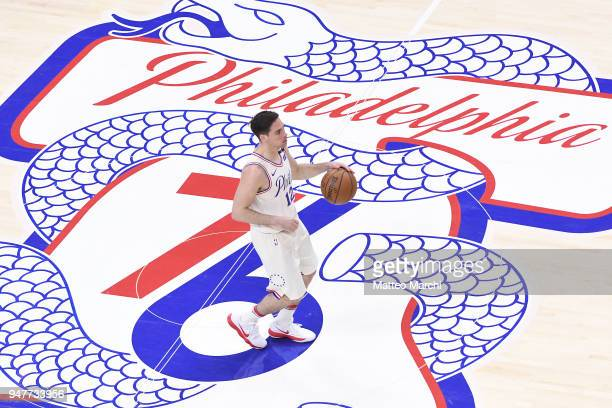J McConnell of the Philadelphia 76ers handles the ball during the game against the Miami Heat in game two of round one of the 2018 NBA Playoffs on...