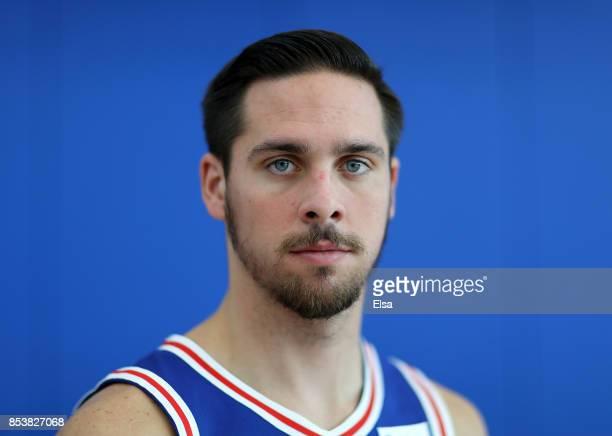 J McConnell of the Philadelphia 76ers poses for a portrait during the Philadelphia 76ers Media Day on September 25 2017 at the Philadelphia 76ers...